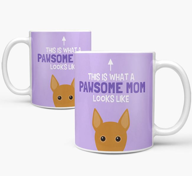 'Pawsome Dog Mom' Mug with Basenji Icon