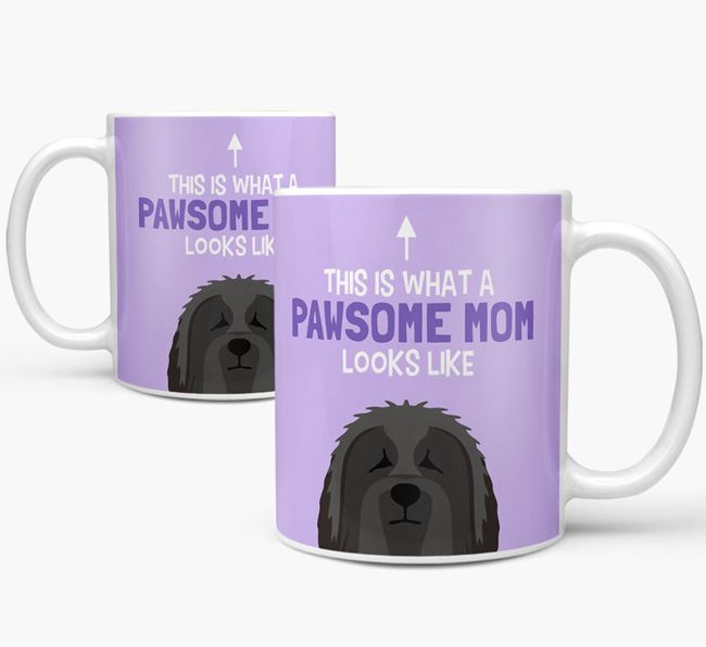 'Pawsome Dog Mom' Mug with Bearded Collie Icon