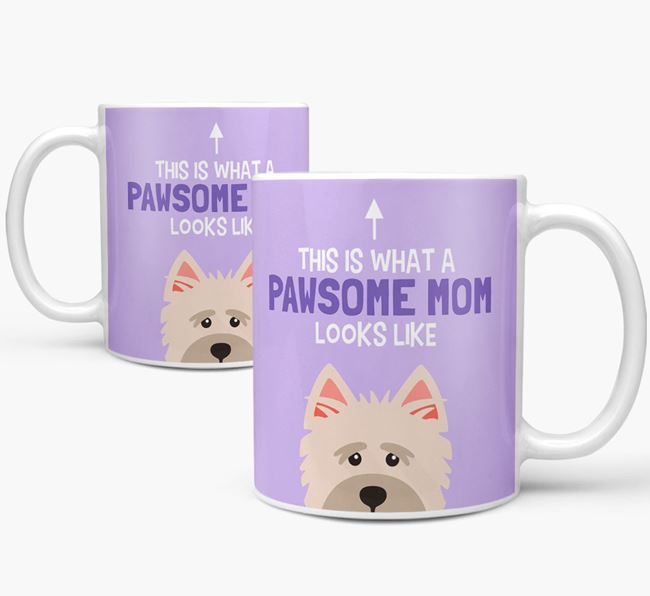 'Pawsome Dog Mom' Mug with Cairn Terrier Icon