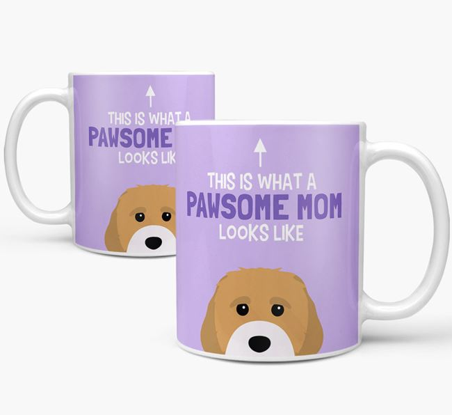 'Pawsome Dog Mom' Mug with Cavachon Icon