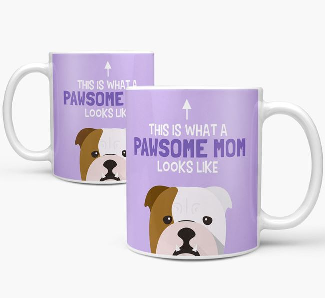 'Pawsome Dog Mom' Mug with English Bulldog Icon