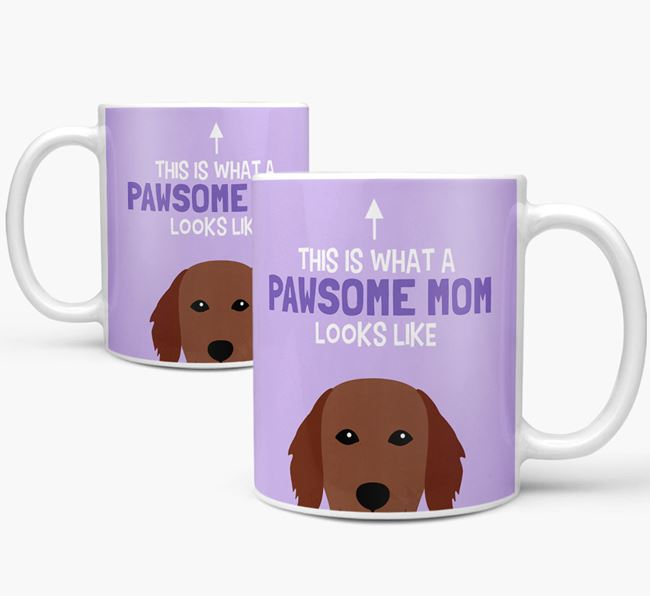 'Pawsome Dog Mom' Mug with Flat-Coated Retriever Icon