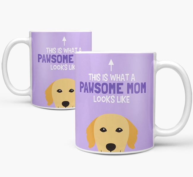 'Pawsome Dog Mom' Mug with Golden Retriever Icon