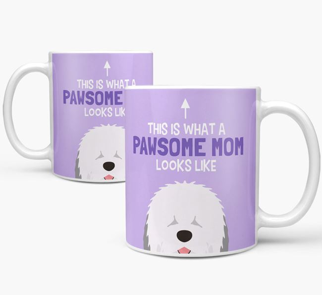'Pawsome Dog Mom' Mug with Old English Sheepdog Icon