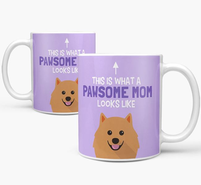 'Pawsome Dog Mom' Mug with Pomeranian Icon