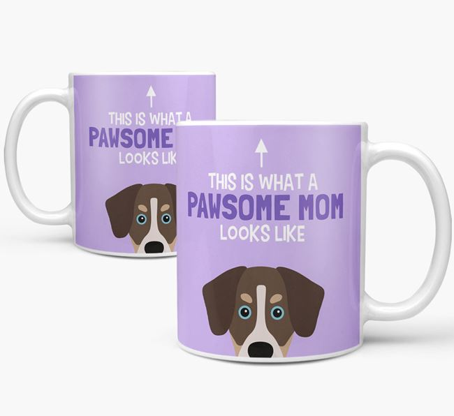 'Pawsome Dog Mom' Mug with Siberian Cocker Icon
