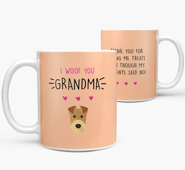 'I Woof You Grandma' Mug with Airedale Terrier Icon