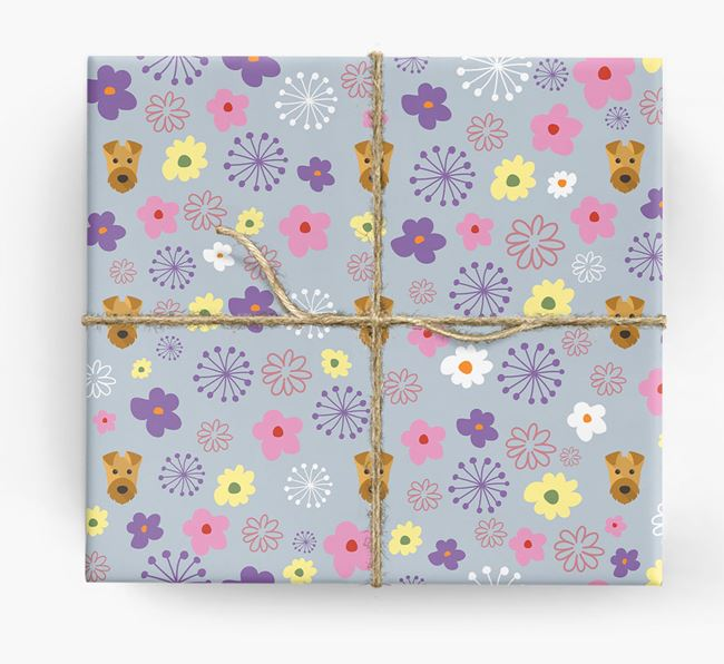 Floral Wrapping Paper with Airedale Terrier Icons