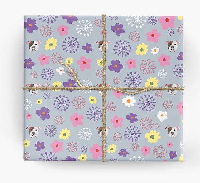 Floral Wrapping Paper with American Bulldog Icons