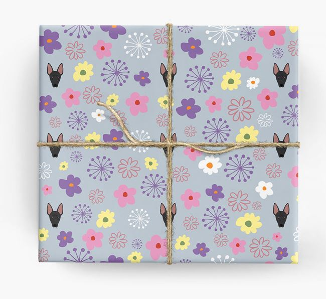 Floral Wrapping Paper with American Hairless Terrier Icons