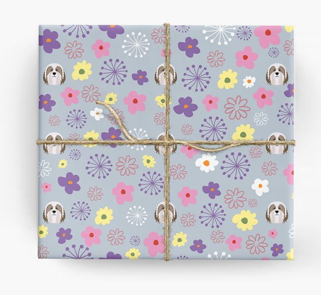 Floral Wrapping Paper with Bearded Collie Icons