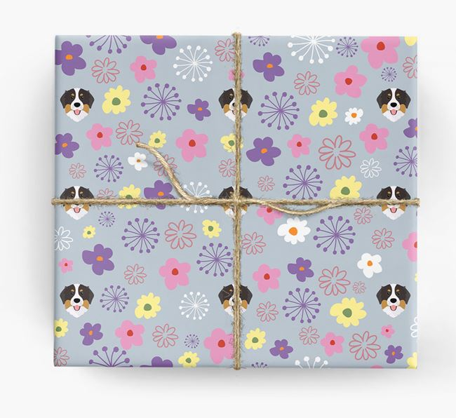 Floral Wrapping Paper with Bernese Mountain Dog Icons