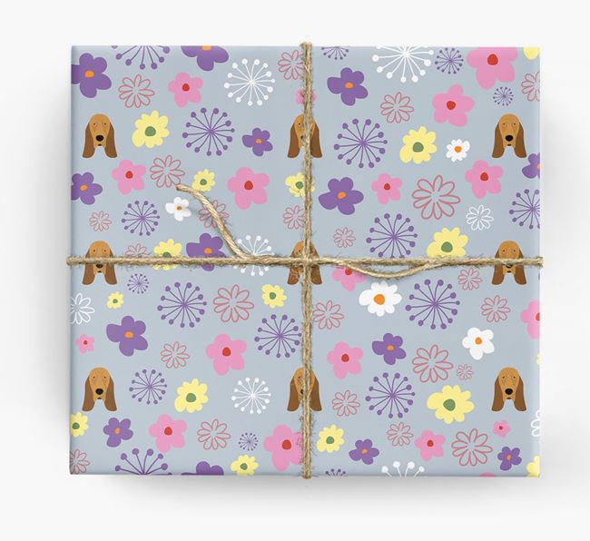 Floral Wrapping Paper with Bloodhound Icons