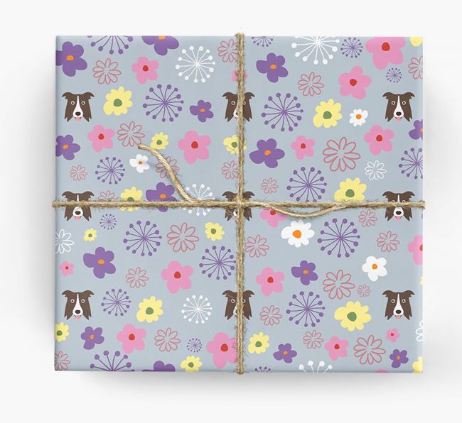 Floral Wrapping Paper with Border Collie Icons