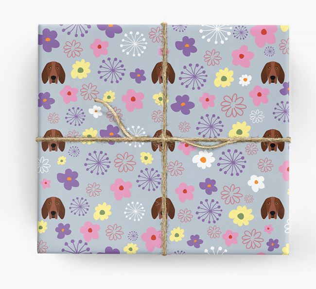 Floral Wrapping Paper with Bracco Italiano Icons