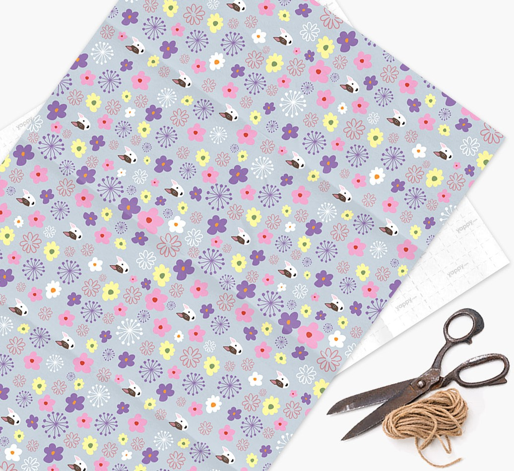 Floral Wrapping Paper with Bull Terrier Icons