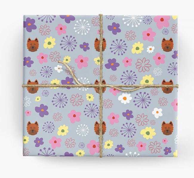Floral Wrapping Paper with Cairn Terrier Icons
