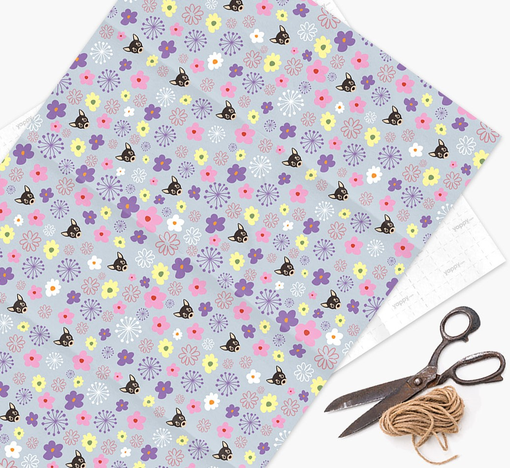 Floral Wrapping Paper with Chihuahua Icons