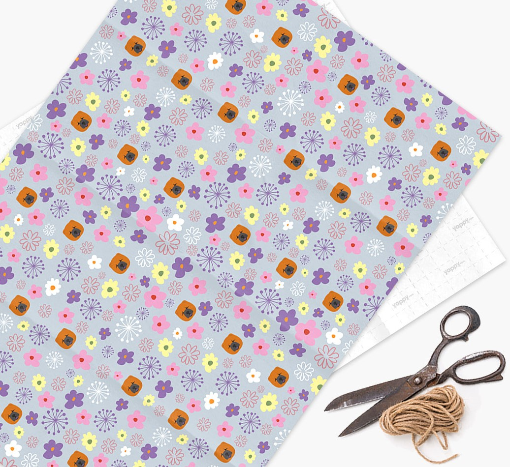 Floral Wrapping Paper with Chow Chow Icons