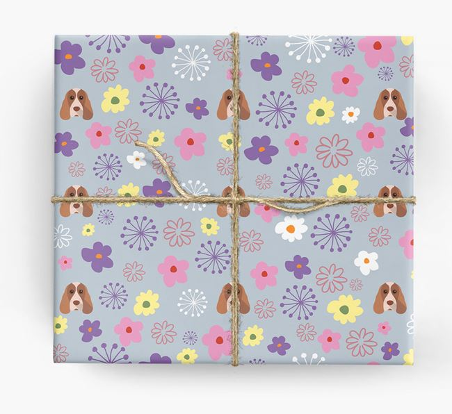 Floral Wrapping Paper with Cocker Spaniel Icons