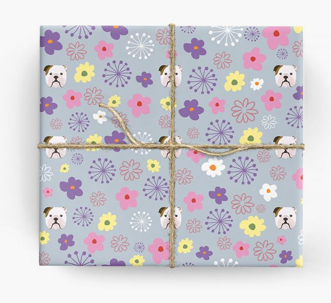 Floral Wrapping Paper with English Bulldog Icons