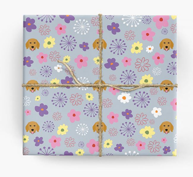 Floral Wrapping Paper with Flat-Coated Retriever Icons
