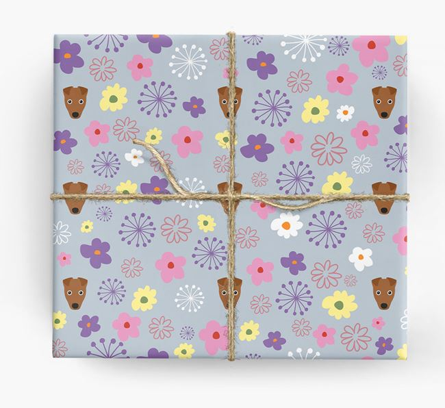 Floral Wrapping Paper with Fox Terrier Icons