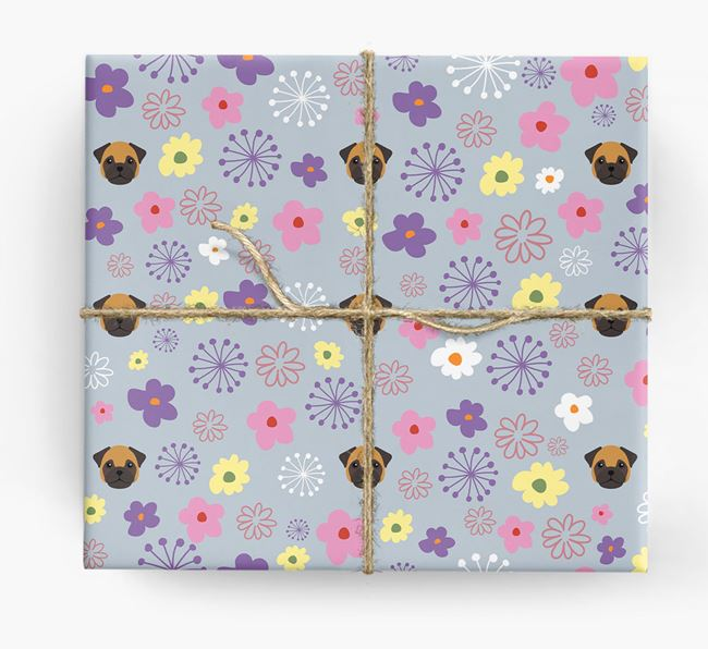 Floral Wrapping Paper with Frug Icons