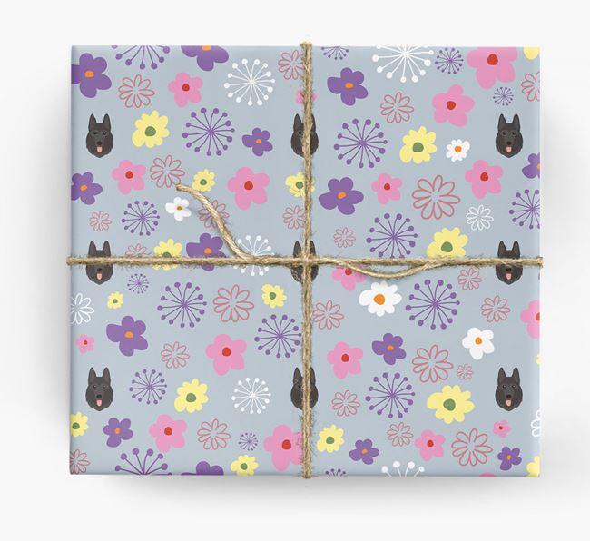 Floral Wrapping Paper with German Shepherd Icons