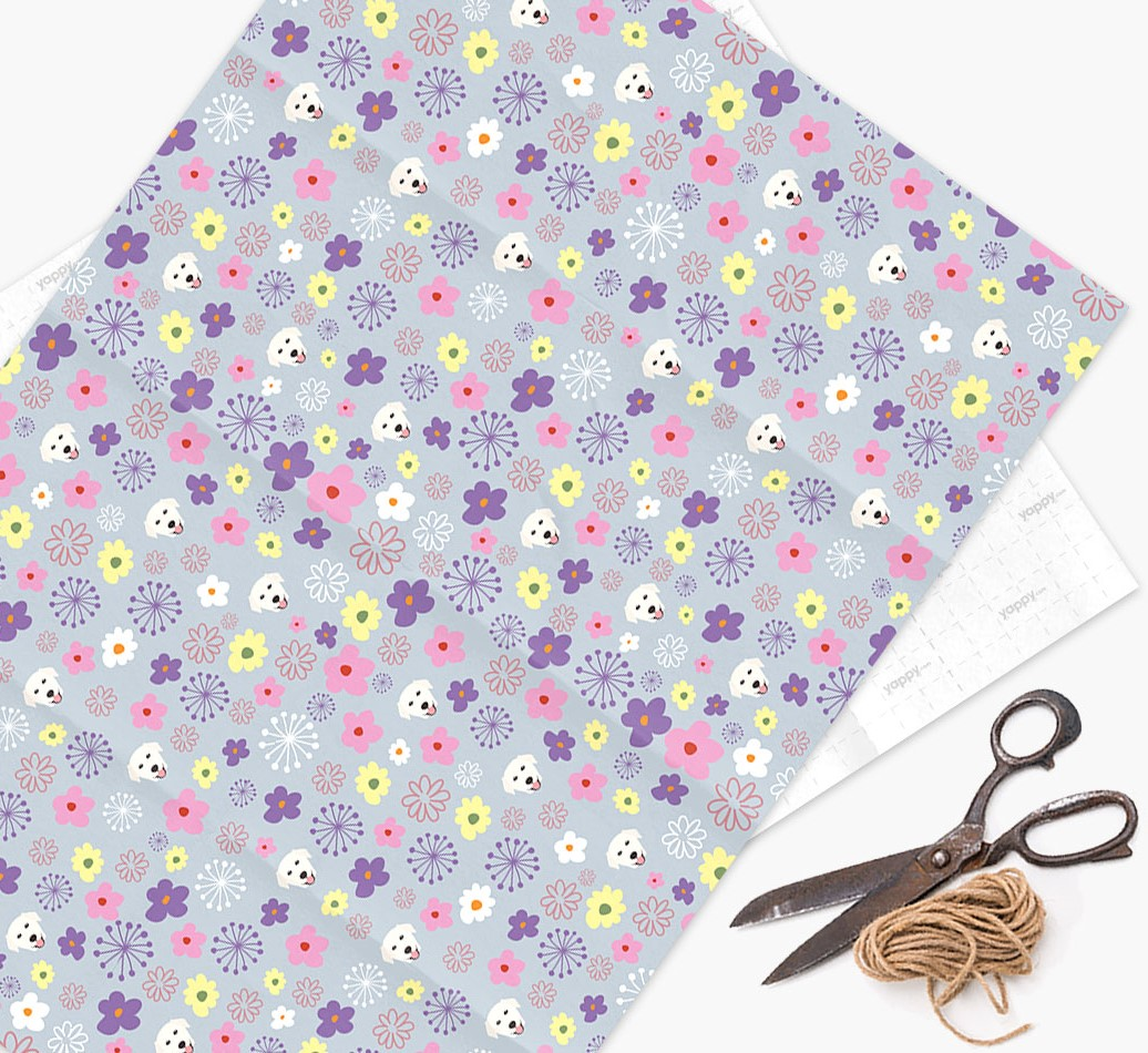 Floral Wrapping Paper with Golden Labrador Icons