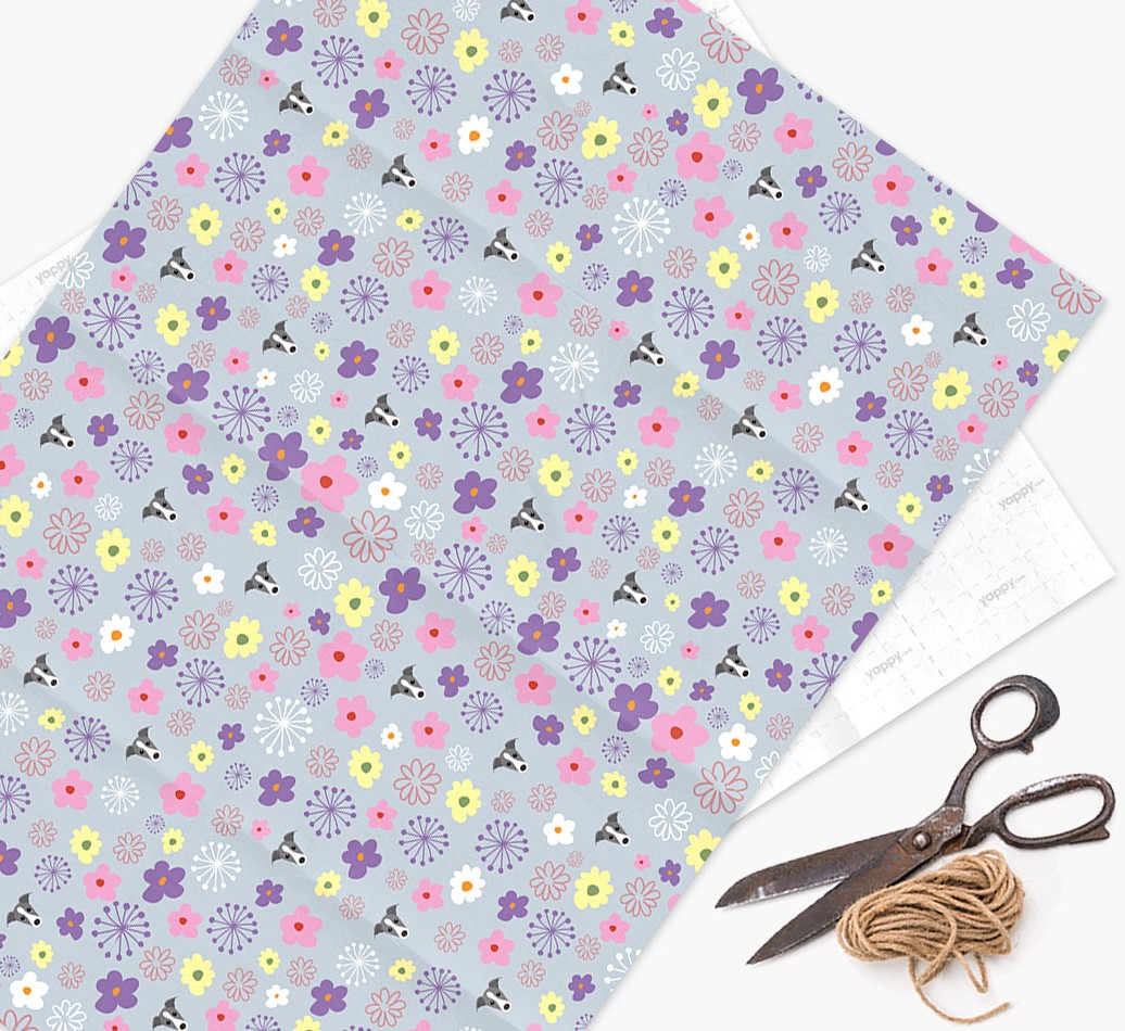 Floral Wrapping Paper with Greyhound Icons
