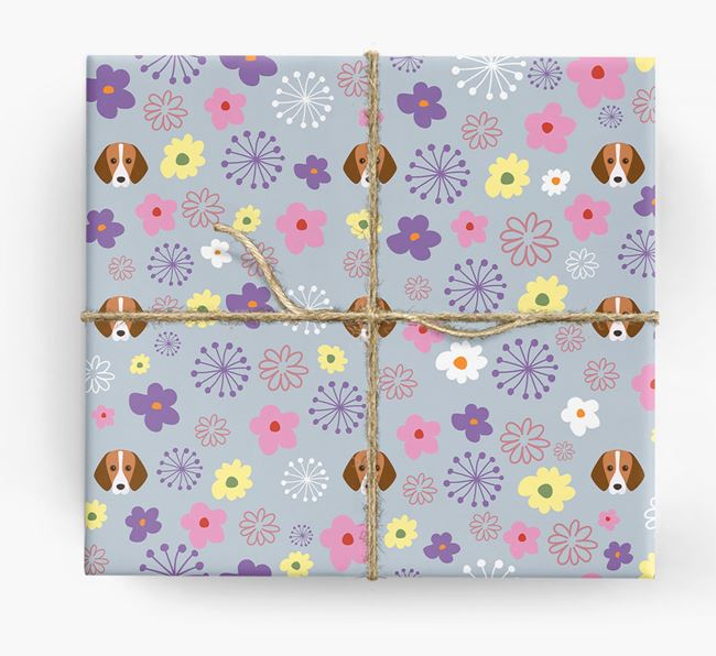 Floral Wrapping Paper with Harrier Icons
