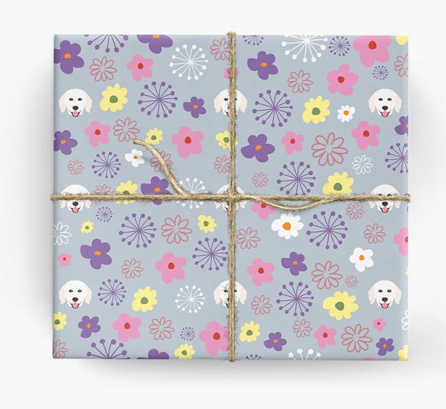 Floral Wrapping Paper with Hungarian Kuvasz Icons