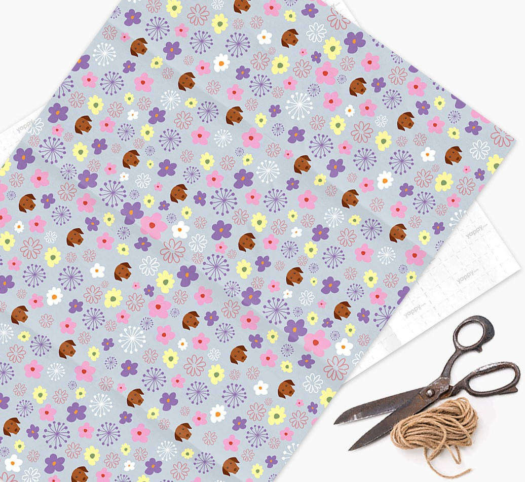 Floral Wrapping Paper with Hungarian Vizsla Icons