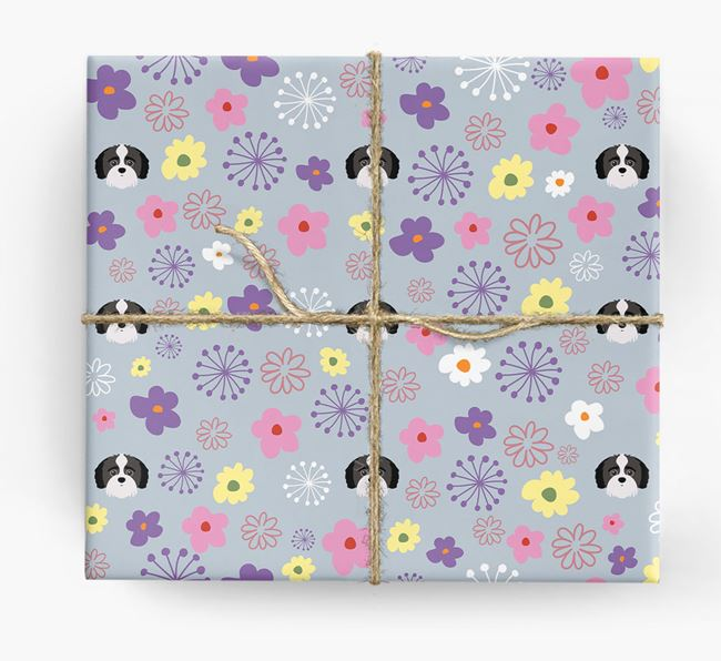 Floral Wrapping Paper with Jack-A-Poo Icons