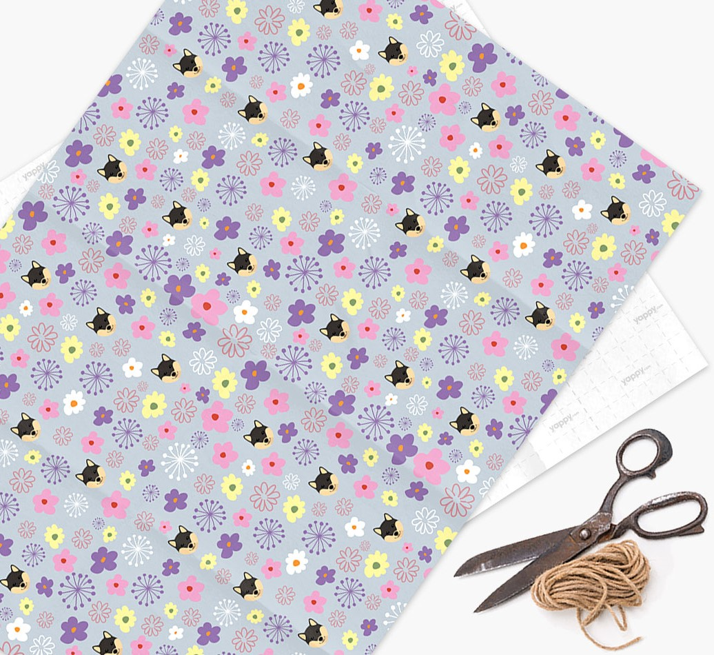 Floral Wrapping Paper with Japanese Shiba Icons