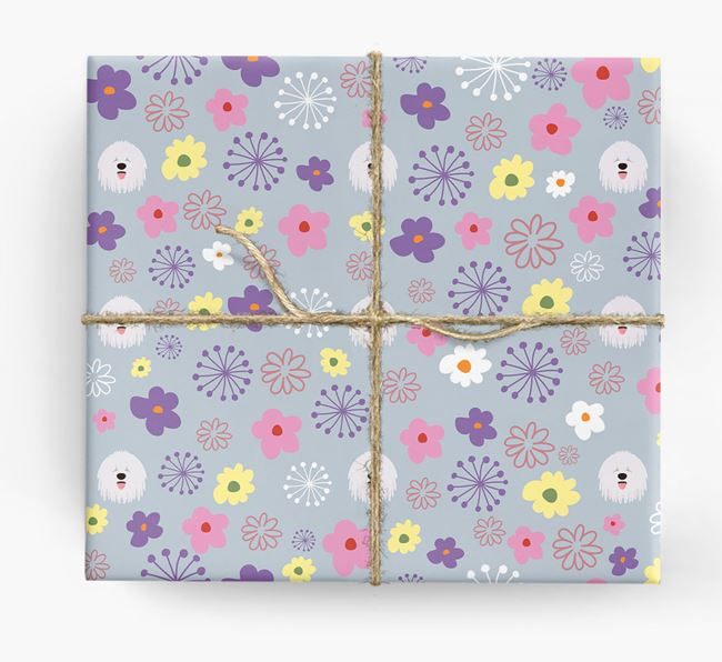 Floral Wrapping Paper with Komondor Icons
