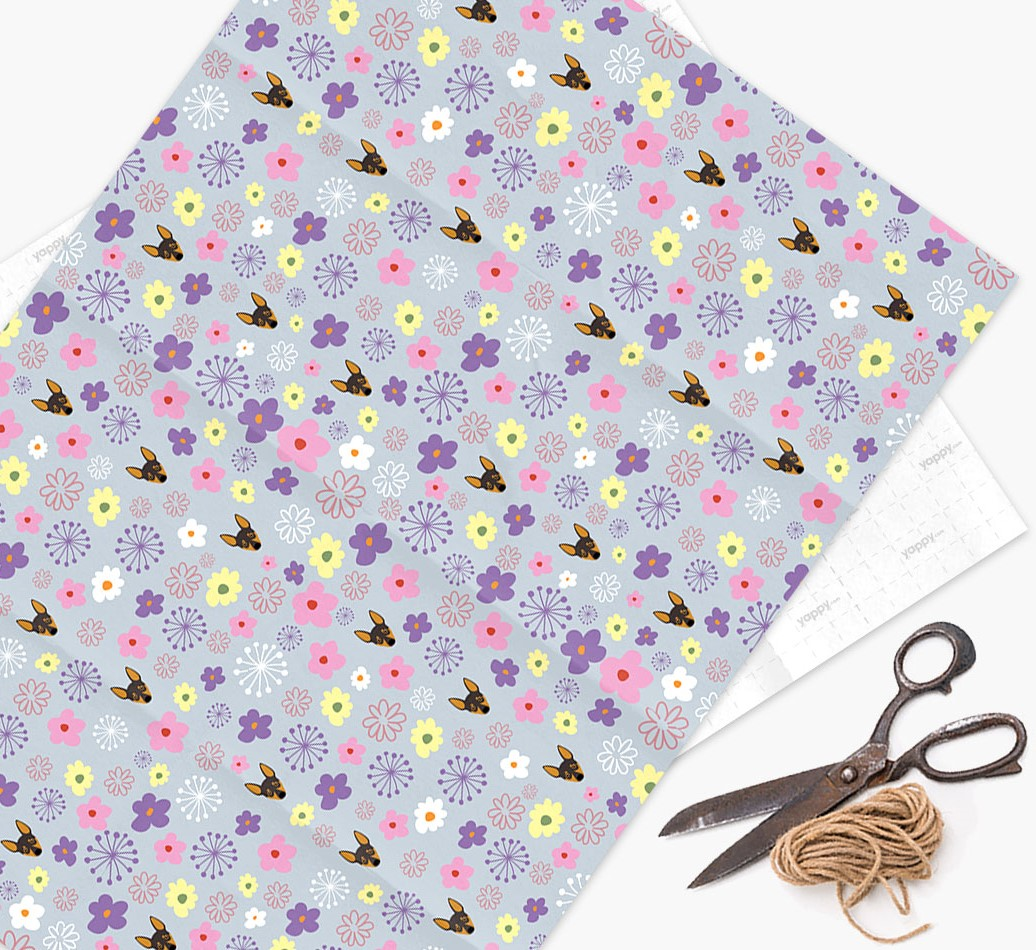 Floral Wrapping Paper with Miniature Pinscher Icons