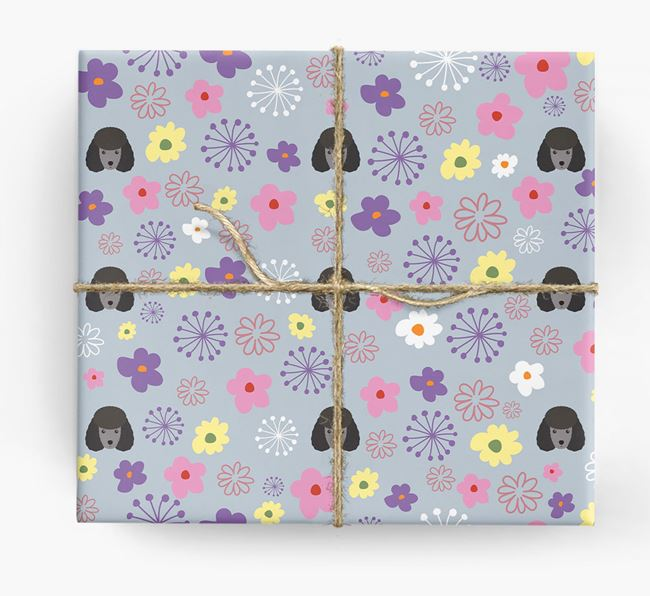 Floral Wrapping Paper with Miniature Poodle Icons