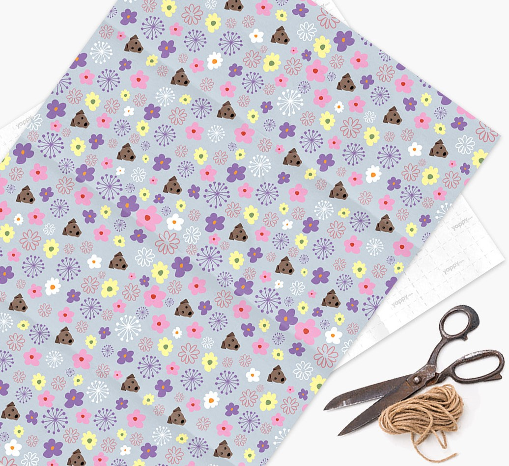 Floral Wrapping Paper with Mixed Breed Icons