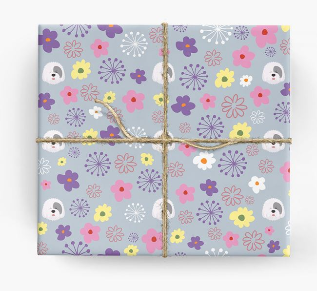 Floral Wrapping Paper with Old English Sheepdog Icons