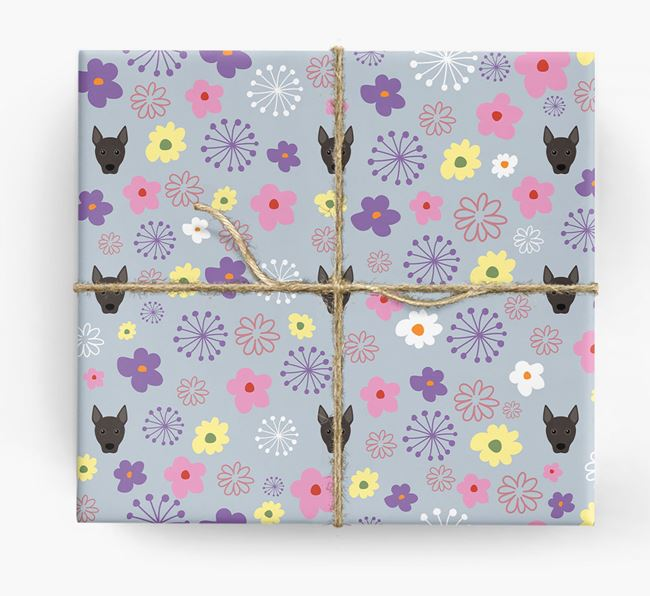 Floral Wrapping Paper with Portuguese Podengo Icons