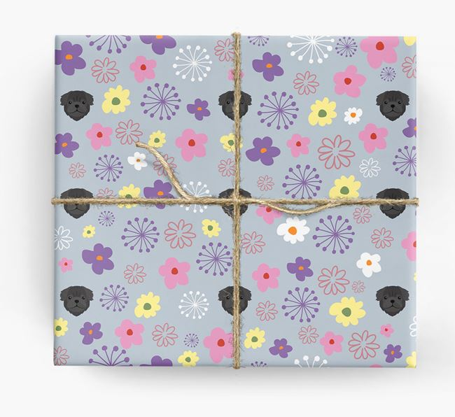 Floral Wrapping Paper with Pug Icons
