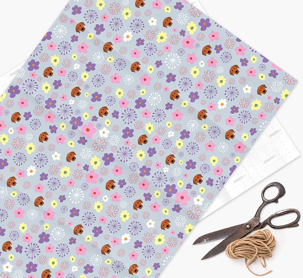 Floral Wrapping Paper with Rhodesian Ridgeback Icons