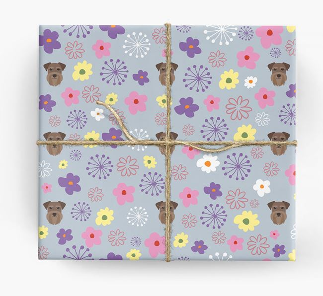 Floral Wrapping Paper with Schnauzer Icons