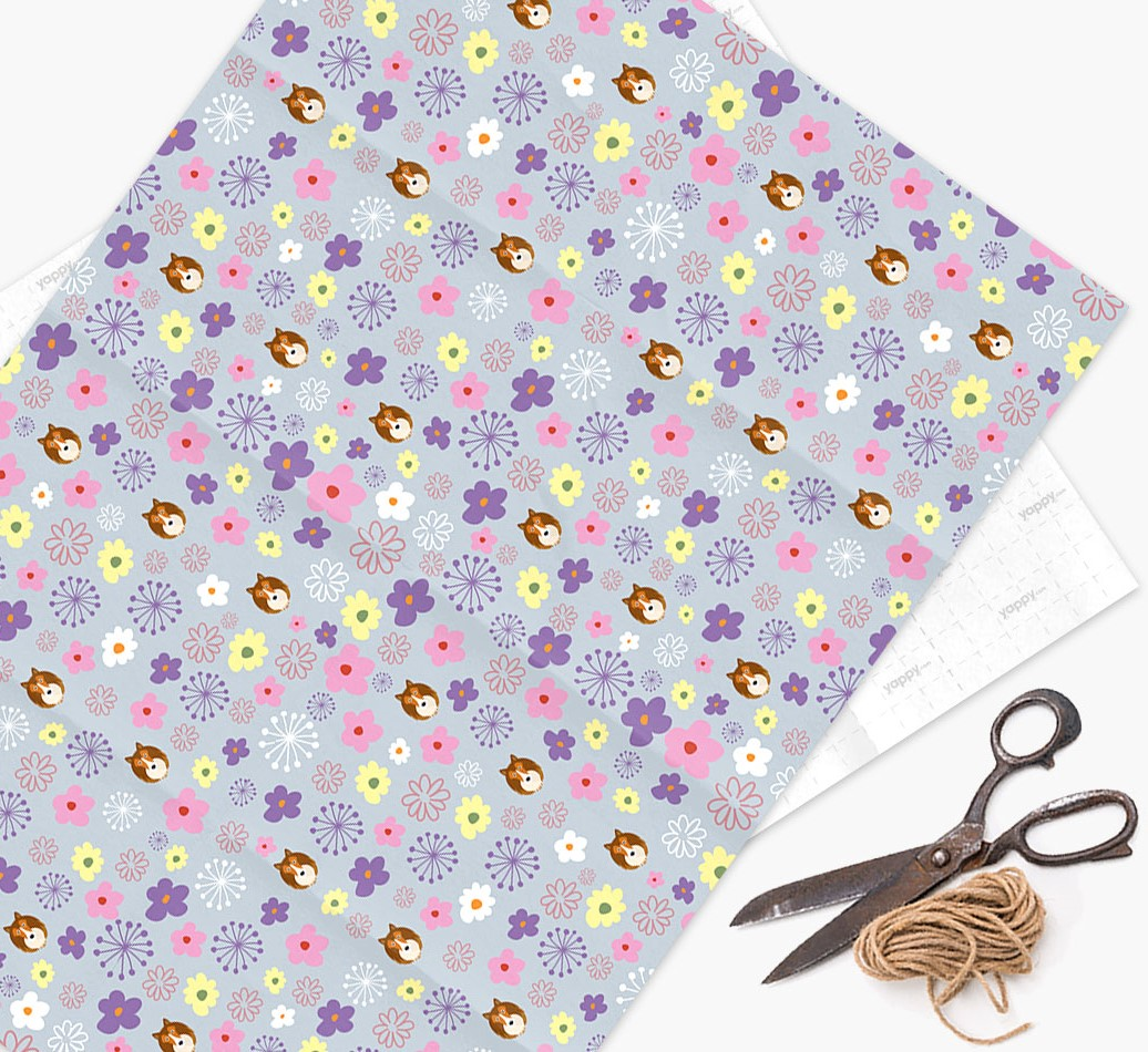 Floral Wrapping Paper with Shetland Sheepdog Icons