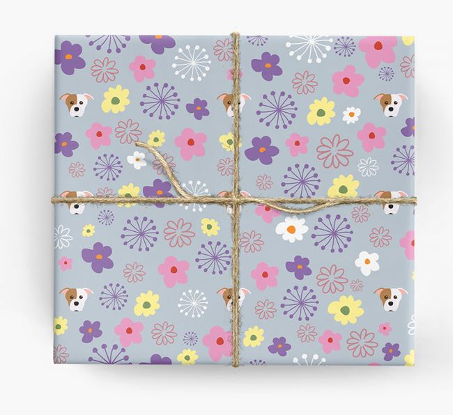 Floral Wrapping Paper with Staffordshire Bull Terrier Icons