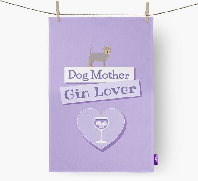 'Dog Mother, Gin Lover' Tea Towel with Chorkie Icon