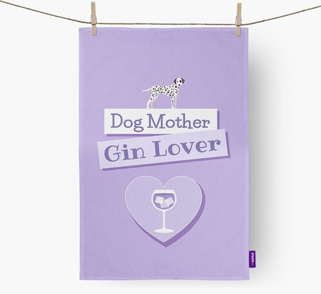 'Dog Mother, Gin Lover' Tea Towel with Dog Icon