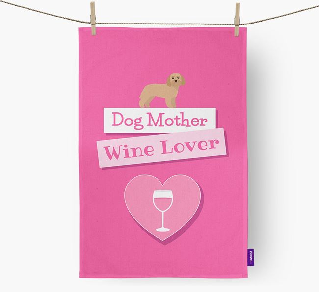 'Dog Mother, Wine Lover' Dish Towel with Terri-Poo Icon